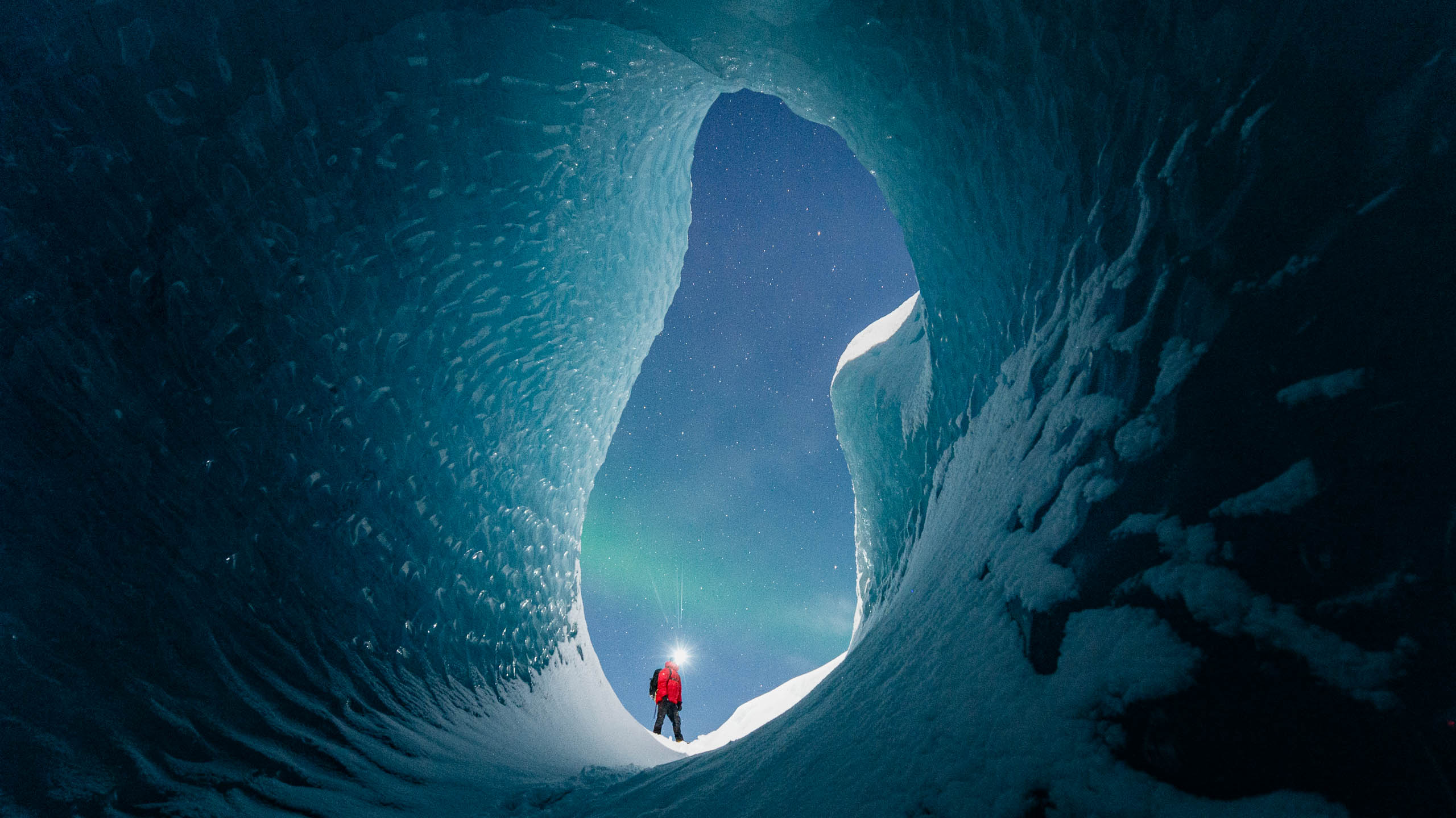 The holy grail – northern lights from within an ice cave!
